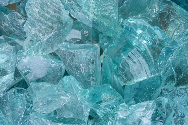 Glas Tuerkis Glasbrocken 40-80mm